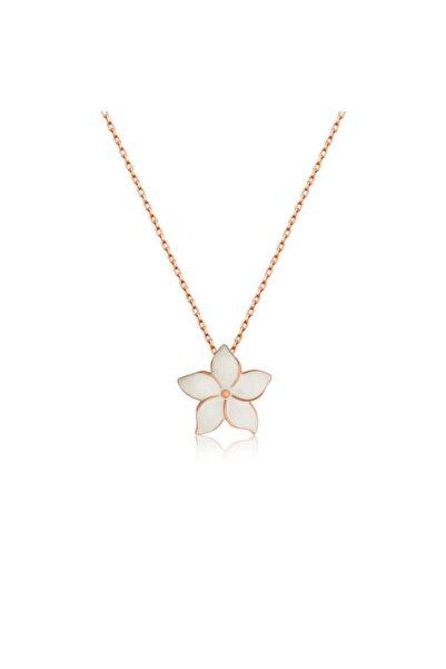 Gumush Kadın Beyaz Gümüş Yasemin Çiçeği Kolye