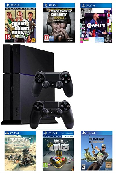 e&e Sony Playstation 4 Parlak Kasa 500 Gb Yenilenmiş 2. Ps4 Kol Gta 5, Fıfa 21 Dahil 10 Dijital Oyun