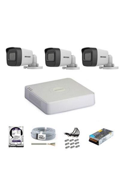 Haikon Haıkon Hikvision 3 Kameralı Güvenlik Kamera Hazır Set 1tb 7/24 Hdd- 1tb Kayıt Kapasiteli Sistem