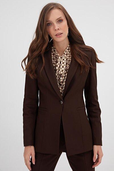 Chima Kadın Kahverengi Tek Düğme Ceket