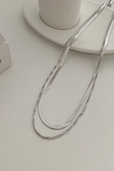 DEMOKAN Kadın Trend Silver Italyan Zincir 2li Kombin Çelik Kolye