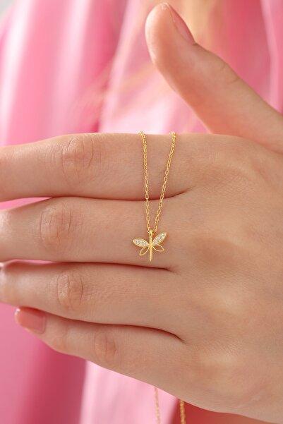 Bilsen Store Kadın Tamamı Orjinal 925 Ayar Gümüş Altın Kaplama Minimal Yusufçuk Kolye