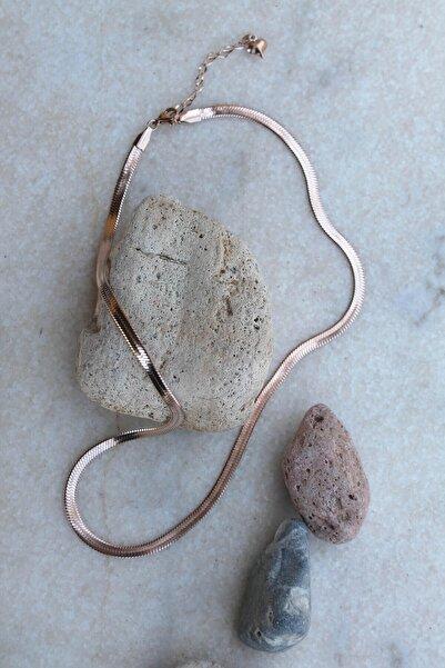 Bukika Rose Çelik Yassı Italyan Zinciri Kolye