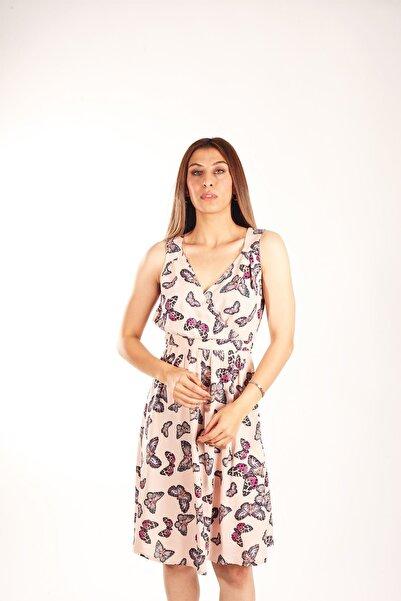 Blues Outlet Kadın Kelebek Baskılı Elbise Pembe