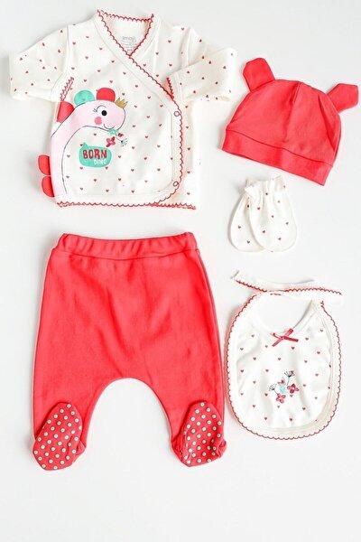 İmaj Kırmızı Dino Işlemeli 5 Parça Kız Bebek Takım