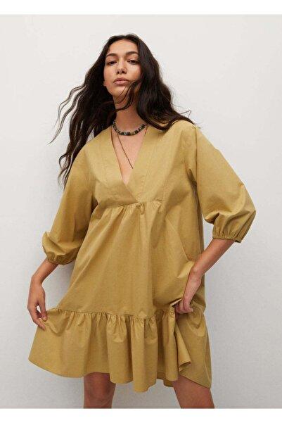 MANGO Woman Kadın Koyu Sarı Fırfırlı Pamuklu Elbise