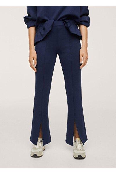MANGO Woman Kadın Lacivert Yanları Yırtmaçlı Dökümlü Pantolon