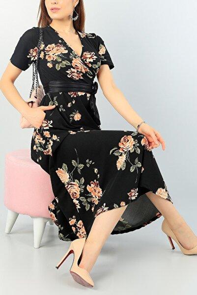 Butik Şımarık Kadın Büyük Beden Çiçek Baskılı Kruvaze Yaka Krep Kumaş Elbise Boy 120cm Kemer Dahil