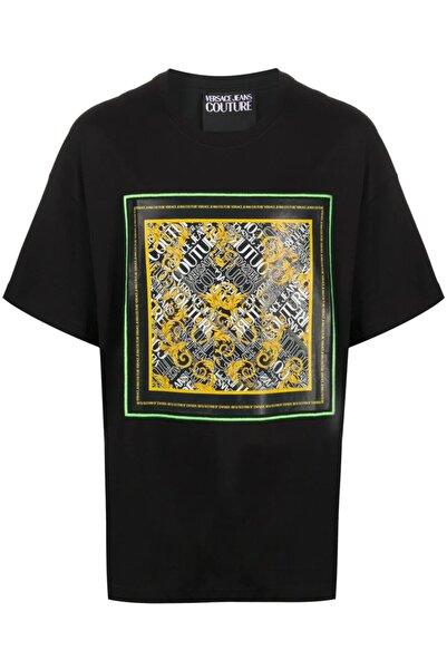 Versace Unisex Overize Art Logo Baskı Jeans Couture Siyah T-shirt