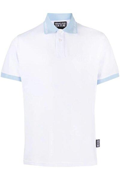 Versace Turkuaz Yaka Logo Baskı Jeans Couture Beyaz Polo T-shirt