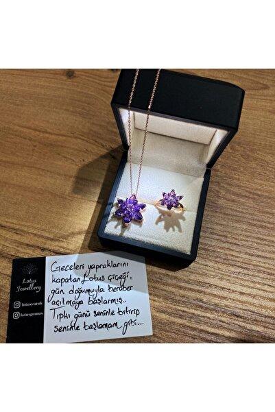 LOTUS JEWELLERY Lotus Çiçeği Yüzük Ve Kolye Seti 925 Ayar Gümüş Set