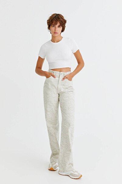 Pull & Bear Dalgalı Desenli Straight Fit Pantolon
