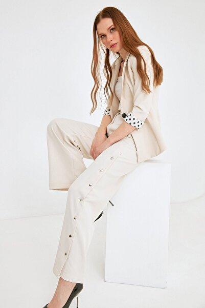 Fulla Moda Kadın Yanı Çıtçıtlı Bol Pantolon