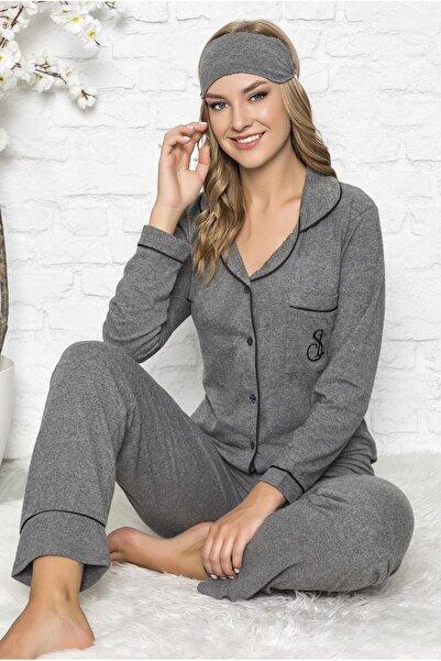 TEKTEN Kadın Önden Düğmeli Rahat Kesim Pijama Takımı