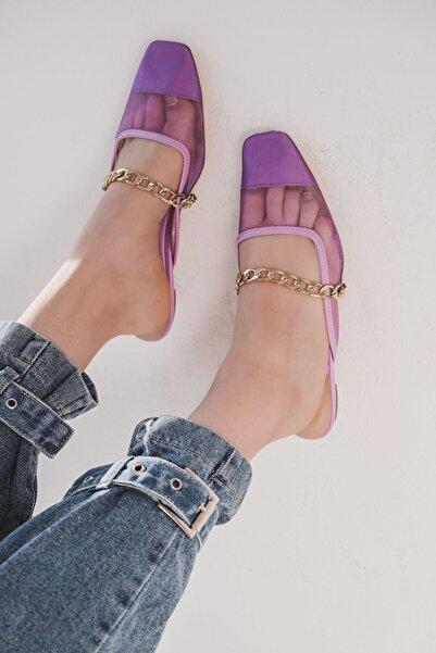I Love Shoes Mejoksin Tül Zincir Detaylı Kısa Topuklu Terlik Lila