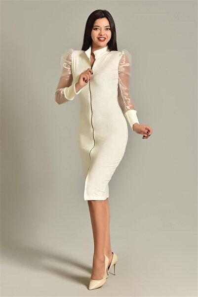 Modakapimda Beyaz Kolları Tül Önden Fermuarlı Kadife Elbise