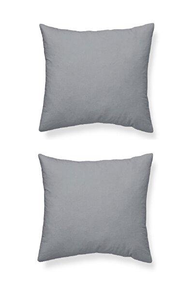 Maki %100 Pamuklu 2 Adet 80x80 Yastık Kılıfı Seti , Renk Açık Gri