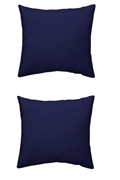 Maki %100 Pamuklu 2 Adet 80x80 Yastık Kılıfı Seti , Renk Lacivert