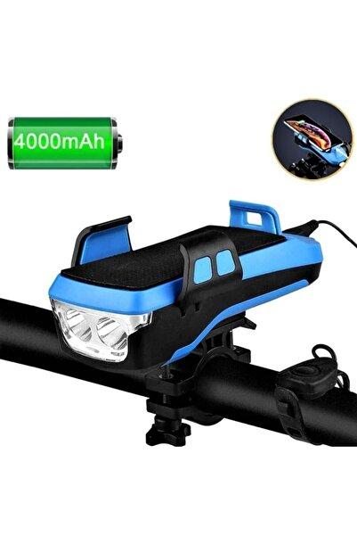 Cooltech 1200 Lümen 4 In 1 Bisiklet Ön Far Işık, Korna, 4000mah Powerbank, Telefon Tutucu Usb