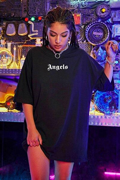 LEGION Kadın Siyah Oversize Pure Angels Baskılı T-shirt