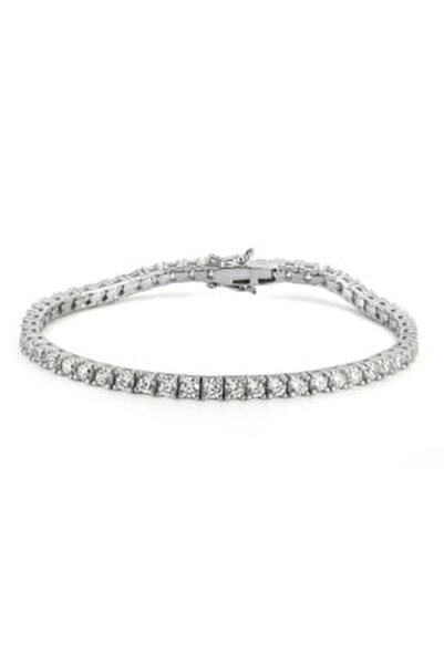 Diamond Montür, 5.39 Karat Swarovski Zirkon Taşli, Gümüş Su Yolu Bileklik