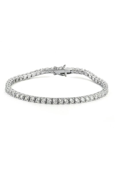 Valori Jewels Diamond Montür, 5.39 Karat Swarovski Zirkon Taşli, Gümüş Su Yolu Bileklik