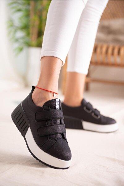 Limoya Julia Siyah Simli Çift Bantlı Yüksek Tabanlı Sneakers Spor Ayakkabı