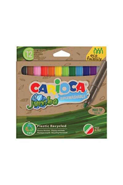 CARIOCA Eco Famıly Jumbo Süper Yıkanabilir Keçeli Boya Kalemi 12`li - 43101