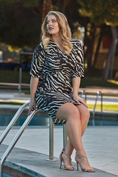 RMG Zebra Desenli Kobe Büyük Beden Elbise