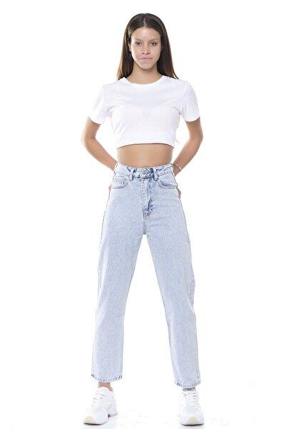 its basic Kadın Mavi Kot Rengi Rahat Mom Kalıp Yüksek Bel Jeans