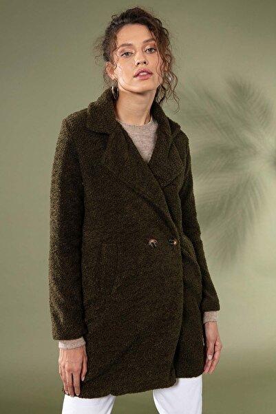 Pattaya Kadın Uzun Peluş Kuzu Ceket 10418