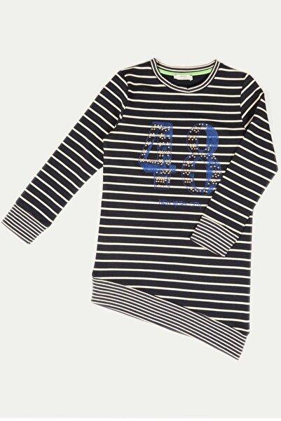 Çikoby Kız Çocuk Baskılı Asimetrik Kesim Garson Tişört 7-14 Yaş C19w-ck1819