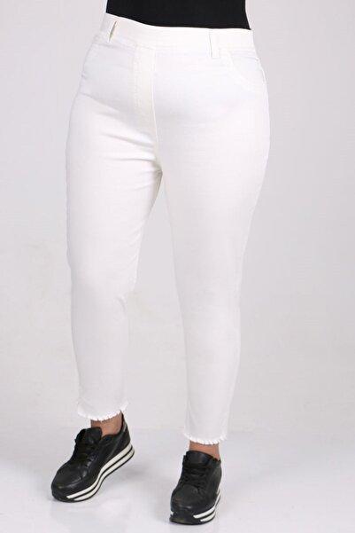 Eslina 9138-1 Büyük Beden Beli Lastikli Alt Püsküllü Kot Pantolon-beyaz