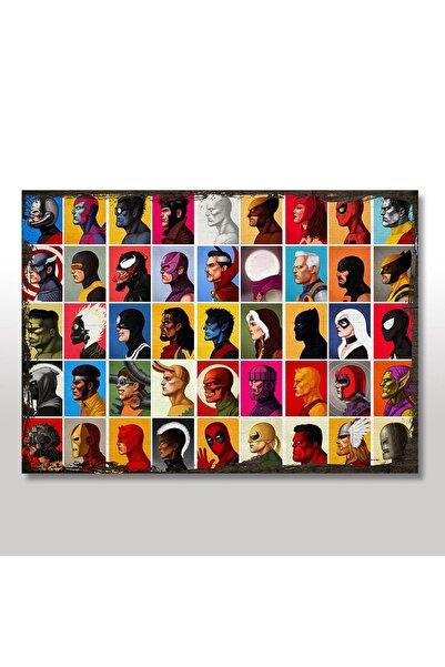 Tablomega Ahşap Tablo Marvel Karakterleri Eskitme Görseli