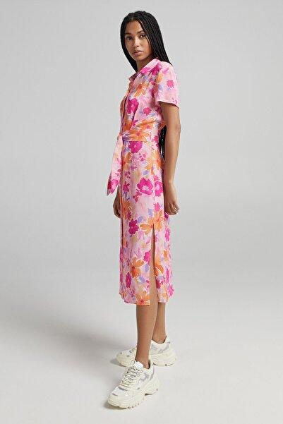 Bershka Bağcıklı Çiçek Desenli Elbise