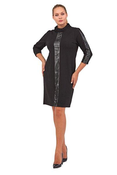 FİERTE Kadın Büyük Beden Elbise Lm54030 Yarım Balıkçı Yaka Krep Parlak Şerit Detay Truvakar Kol Diz