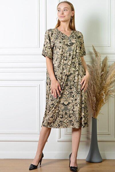 PİNKMARK Pınkmark Kadın Otantik Desenli Gold Düğme Detaylı Büyük Beden Elbise Pmel25315