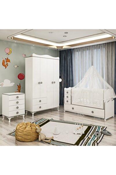 Garaj Home Melina Yıldız 4 Kapaklı Bebek Odası Takımı Gri- Yatak Ve Uyku Seti Kombinli