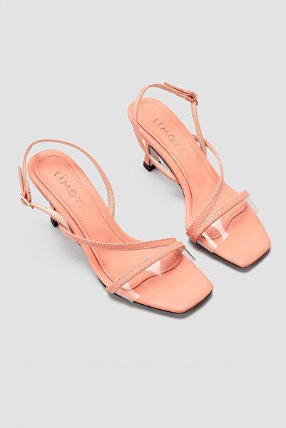 Limoya Jaden Şeffaf Bantlı Kısa Ince Topuklu Sandalet