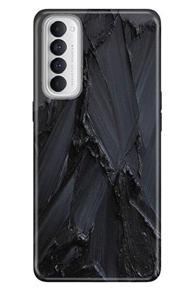 Oppo Reno 4 Pro Uyumlu Kılıf Pure Modern Desenli Silikon Siyah Beton