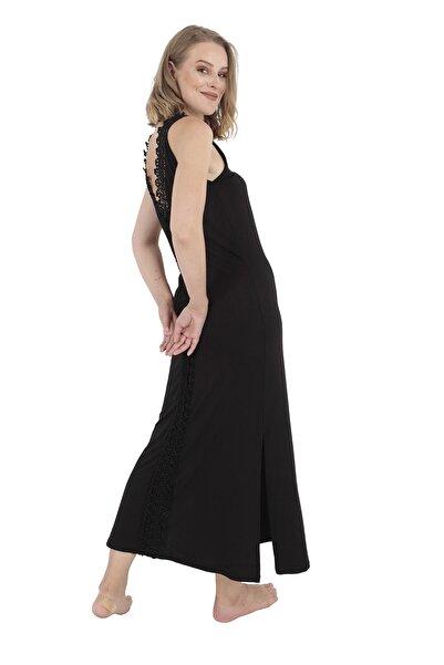 Modagusto Kadın Dantel Sırt Detaylı Maxi Siyah Elbise