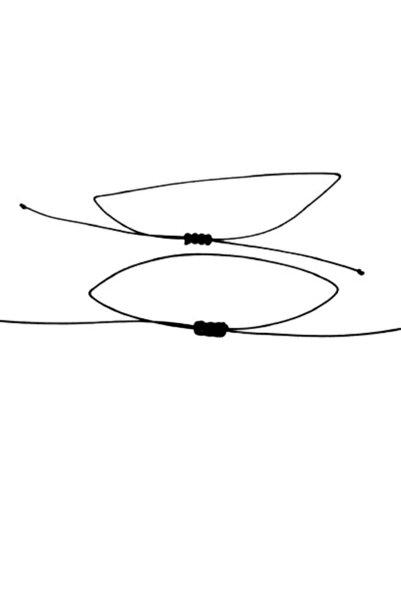 Fashion Bracelet Ince Siyah Ip Bileklik 2'li Sağlam Şans Bilekliği