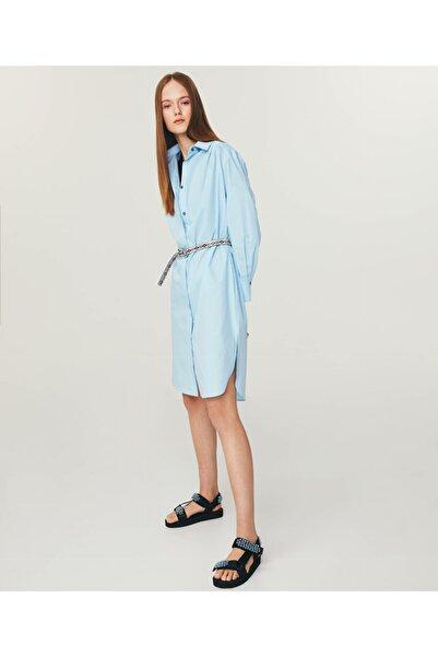 Twist Kadın Mavi Poplin Gömlek Elbise