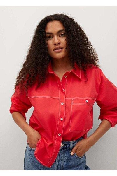 MANGO Woman Kadın Kırmızı Pamuklu Gömlek