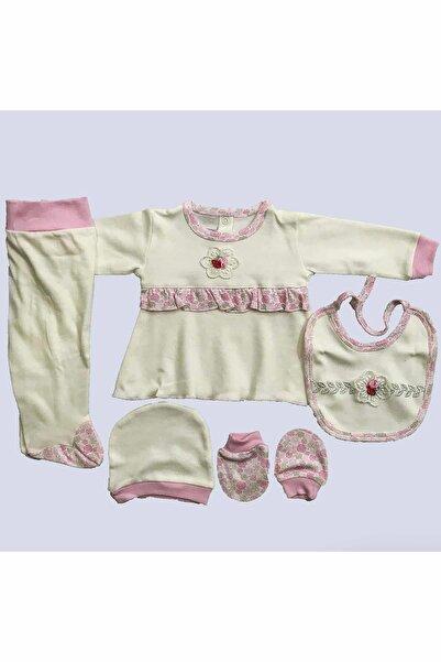 Nenny Baby Kız Bebek Pembe Fırfır Detaylı 5'li Hastane Çıkış Zıbın Seti T732