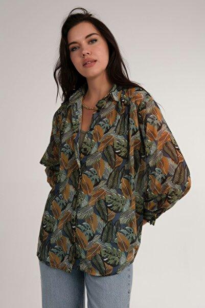Pattaya Kadın Haki  Desenli Şifon Gömlek P21s201-2567.