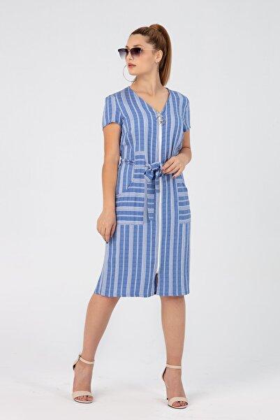 NEWİN BUTİK Önden Fermuarlı Elbise