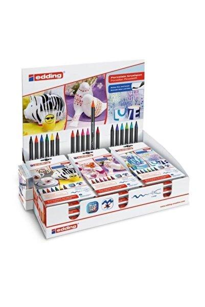 Edding 4200 Porselen Kalemi Hobi Sanat Kalemi 1-4mm Fırça Uçlu Karışık Renk 18 Li Stand