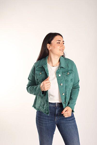 Blues Outlet Kadın Kanvas Metal Düğmeli Cepli Ceket Yeşil