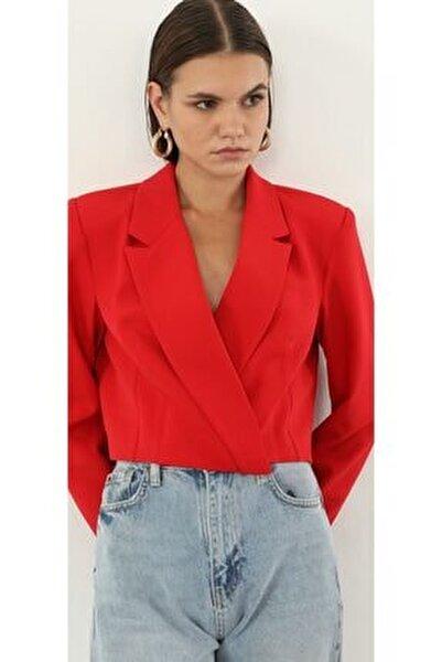 Kırmızı Crop Blazer Ceket